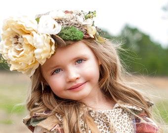Large Whimsical Woodsy Boho Flower Crown