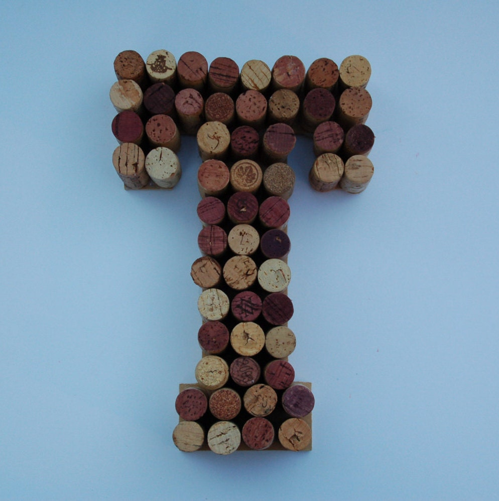 Real Weddings Cork: Wine Cork Letter T Made From Real Wine Corks Wine Cork Art