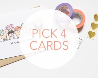 Mix + Match 4 Cards & Save! Corgi Cards, Dog Cards, Tiffbits Cards, Cute Birthday Card, Pet Lover, Gift Guide