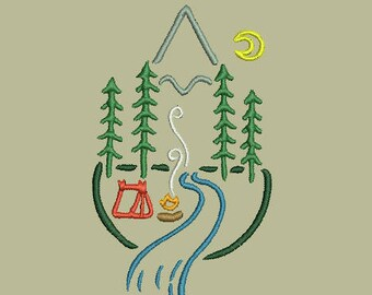 Outdoor camping scene machine embroidery design