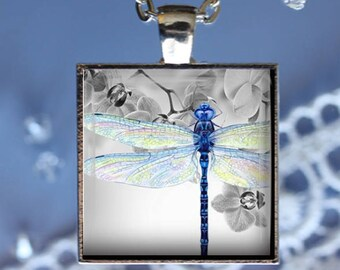 Pastel Wings - Dragonfly Pendant, Necklace or Key Chain - Choice of Silver, Bronze, Copper or Black
