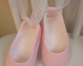 Baby Ballet Slippers . Baby Girl Dance Shoes . Pink Satin Ballet Shoes with White Organdy Ribbons . Infant Newborn Ballerina Flats