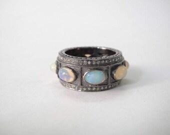 Oval diamond opal pave diamond sterling silver band ring boho style festival wear