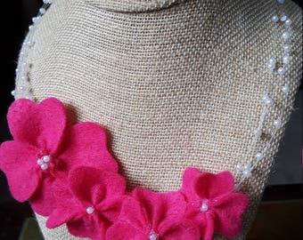 Pink Felt Flower Necklace