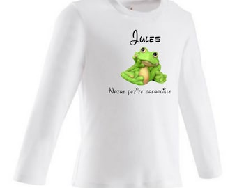 Our little frog personalized with name baby t-shirt