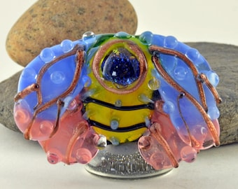 BEE - Art Nouveau inspired  Focal Bead Sculpture - Flameworked Glass Bead - Handmade Lampwork Glass Sculpture Bead