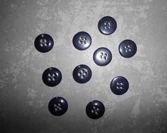 set of 10 black plastic buttons 1 cm