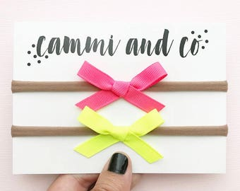 Neon yellow and neon pink/coral Summer Grosgrain baby bow headbands