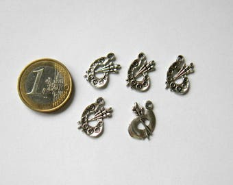 set of 5 charms in silver paint palette aged 17 x 12 mm