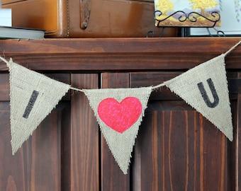 Toile de jute Valentine Garland « Je t'aime » Bunting drapeau bannière