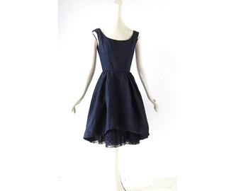 50s Party Dress | 1950s Dress | Bonwit Teller | Peekaboo Hem Dress | XXS