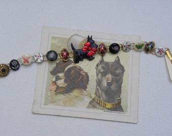 BUTTON BRACELET SCOTTY Dog Diminutive french enamel  Sold