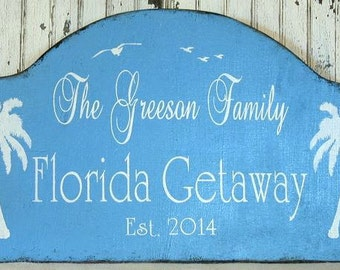 FLORIDA getaway beach house, shabby cottage snowbird sign, personalized family est date and palm trees