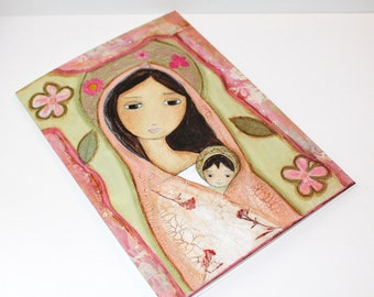 Madonna in Pink - Greeting Card 5 x 7 inches - Set of 6 - Folk Art By FLOR LARIOS