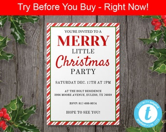 Christmas Party Invitation Template - Instant Download - Edit in Our Web App - Printable Christmas Invitation