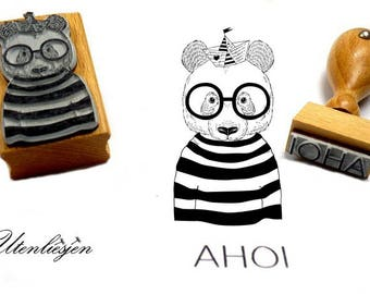 Stamp set, ahoy and bear as a sailor, rubber stamp 20x58 mm