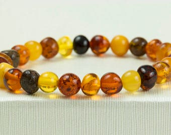 Handmade Baltic Amber Bracelet. Multicolor Polished Amber Beads. Cognac, Lemon. Cherry Amber. Perfect  Amber Gift. Women Bracelet. Unisex.