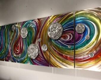 Wilmos Kovacs Rainbow Art Large Painting on Metal, Wall Art Sculpture - W202