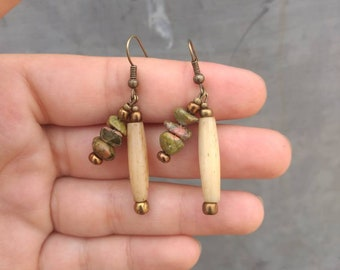 Unakite and Bone Earrings