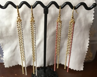 """""""Beautiful holiday"""" earrings dangle pink and gold or white and gold tones"""