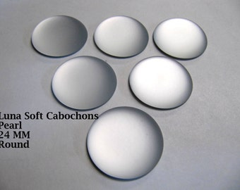 Cabochon, Luna Soft, 24 MM, Pearl, Round, Wire Wrapping, Bead Embroidery, Bright Colors, Neon Color, Glow