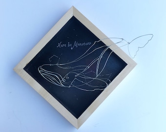 Cetus the Whale, Constellation Art, Aquatic Art Wire Taxidermy