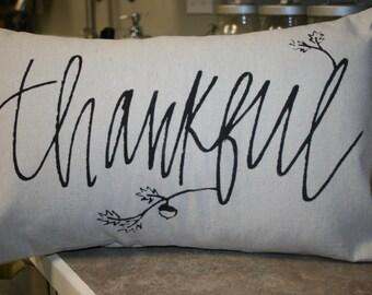 Thankful Pillow, Thanksgiving Pillow, Holiday Pillow, Decorative Pillow, Throw Pillow, Burlap Pillow, Canvas Pillow, Hostess Gift,