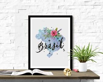 Instant Download Brasil Shape Outline Floral 8x10 inch Poster Print - P1220