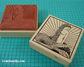 Mermaid Square Stamp / Invoke Arts Collage Rubber Stamps