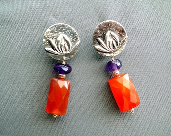 Asian Flavored Carnelian, Amrthyst and Silver Errings