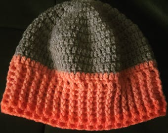 A pretty beanie in orange and beige perfect for this winter and the coming spring season . . .