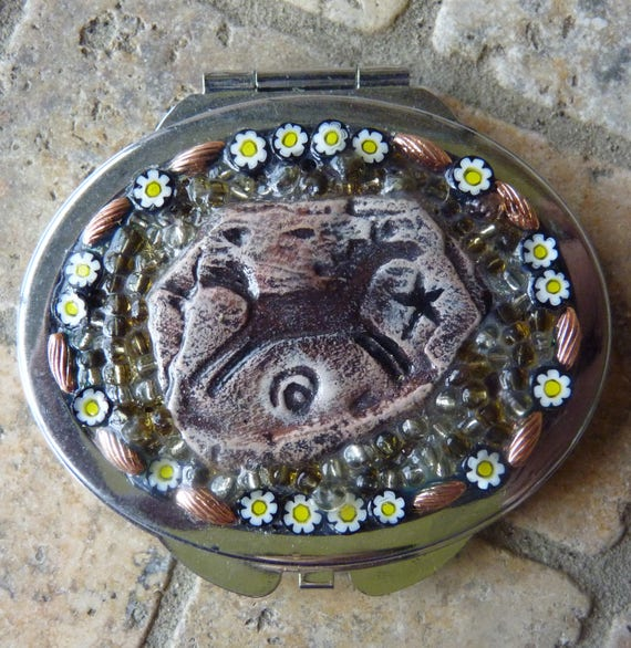 Oval Horse Compact With Dual Mirrors and Italian Millefiori, Makeup Mirror, Purse Mirror, Double Mirror Compact