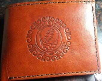 Handmade Grateful Dead Bi-Fold Wallet *Tooled Veg Tanned Leather *Distressed Brown