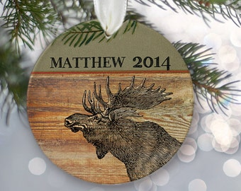 Moose Ornament, Personalized Christmas Ornament, Rustic Holiday Ornament, Moose Christmas Gift, Name & Date faux wood Guy gift for him OR111