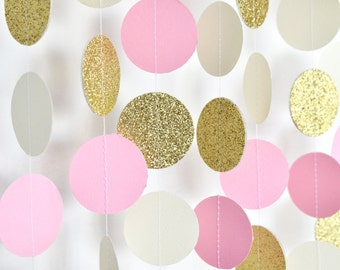 Pink Gold Ivory, 10ft, Paper Garland, Birthday Party Decor, Wedding Decor, Shower Decor, Nursery