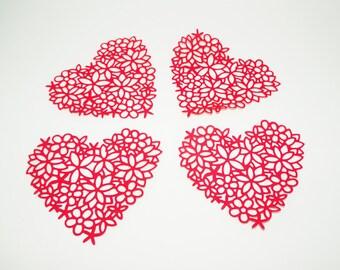 Heart Doily, Valentine Hearts Doilies, Heart Embellishment, Wedding Decors, Wedding Table Decors, Heart Decors, Scrapbook Embellishments