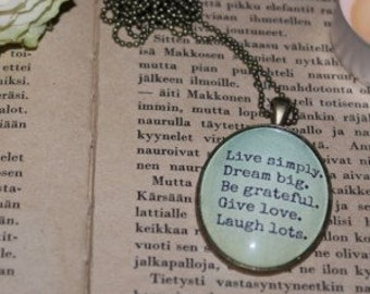 Live simply - statement necklace