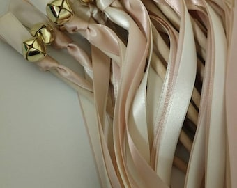 25 Ribbon Wands - Blush and Ivory w/ Gold Bell- Wedding-Celebration - After The Kiss - Customize- Parties- Fast Shipping
