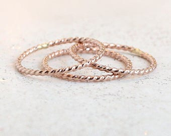 ROSE gold stacking ring. ONE twist stacking rope ring. dainty twisted ring. skinny slim. 14k rose gold fill stack ring. rose gold filled.