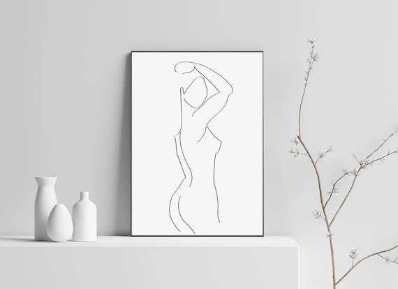 Line Drawing Female : Sketch print woman body art drawing figure one line nude