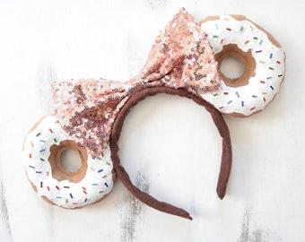 White Cream Rainbow Sprinkles Donut Minnie Mouse Ears