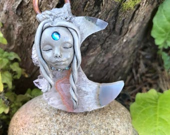 Moonlight Amethyst Druzy Goddess pendant