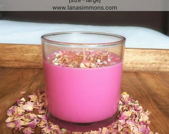 Triple Rose + Vanilla Ceremonial Candle - Rose candle, vanilla candle, Rose Quartz, Vanilla scent, rose petals, St. Therese of Lisieux