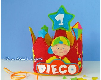 Caillou-Crown and pendant-personalized crown-Corona birthday-Corona Caillou-party-children's decoration-gift-boys-girls