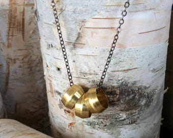 Brass Triple Pipe Industrial Necklace