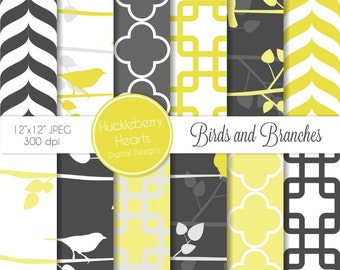 Yellow and Gray Birds and Branches Silhouettes Digital Paper with Quatrefoil, Chevron, and Geometric Squares