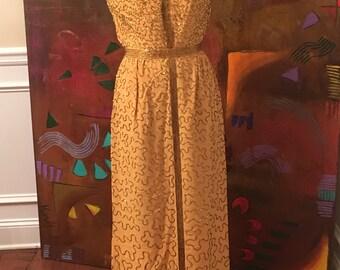 1920's Yellow mustard embelished sleeveles maxi dress