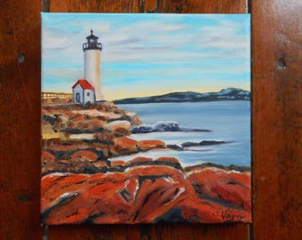 Original oil painting of the Brand Point Lighthouse in the USA - Original oil painting of the Brand Point Lighthouse in the United States