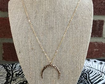 Gold crescent moon long layering necklace, goddess, delicate