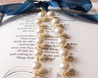 Swarovski Pearl Bridal Necklace - Cream Off White Ivory Ribbon Wedding - Jewelry Jewellery Gold Gift For Women - Bridesmaid Crystal